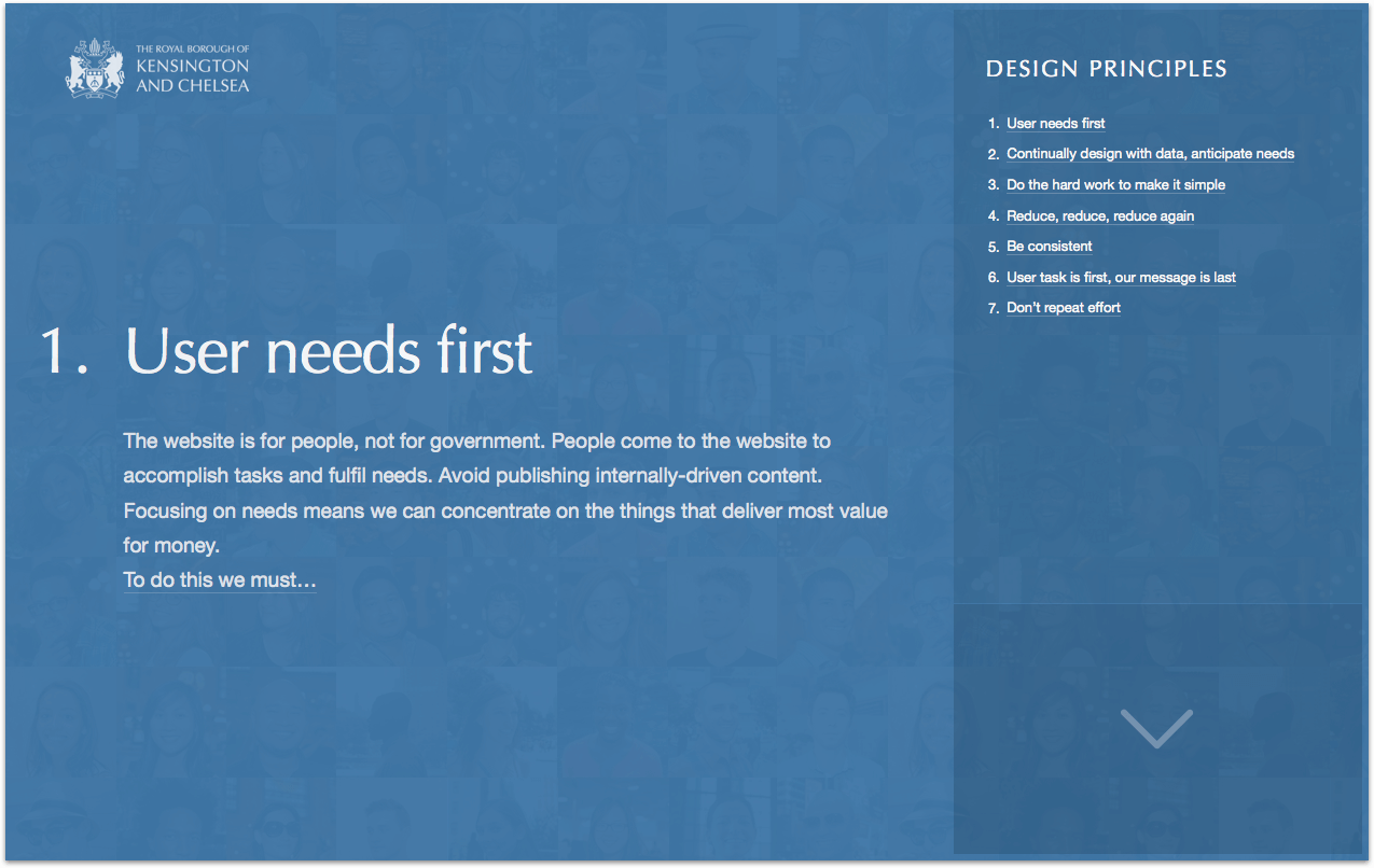 Screen shot of the Design Principles website